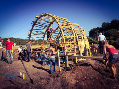 Watchet community builds a pavilion in a community garden